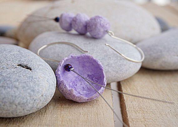 Purple Earrings Paper Earrings Paper Mache Jewelry by irineART