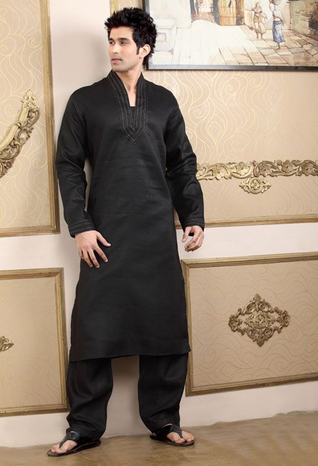 MCD540:Black Linen Embroidered Pathani Suit