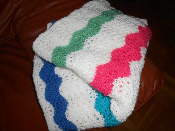 Stickad Bäbisfilt/knitted baby blanket - saraspysselochbak.blogg.se