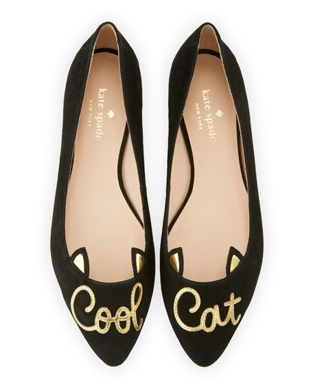 "kate spade new york kid suede ballerina flat. ""Cool cat"" appliqu on vamp. 0.5"" flat heel. Pointed toe. Ear-shaped collar. Slip-on style. Smooth sole. ""elektra cool cat"" is imported."