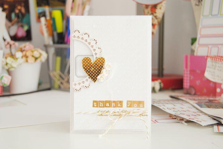 biało-złota kartka ||simple card in white and gold