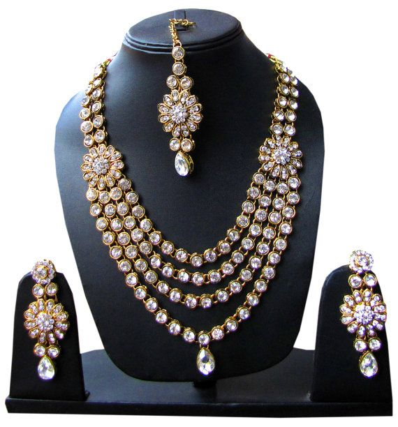 Indian Designer Bridal Wedding Stone Sudded Kundan by Shoppingover