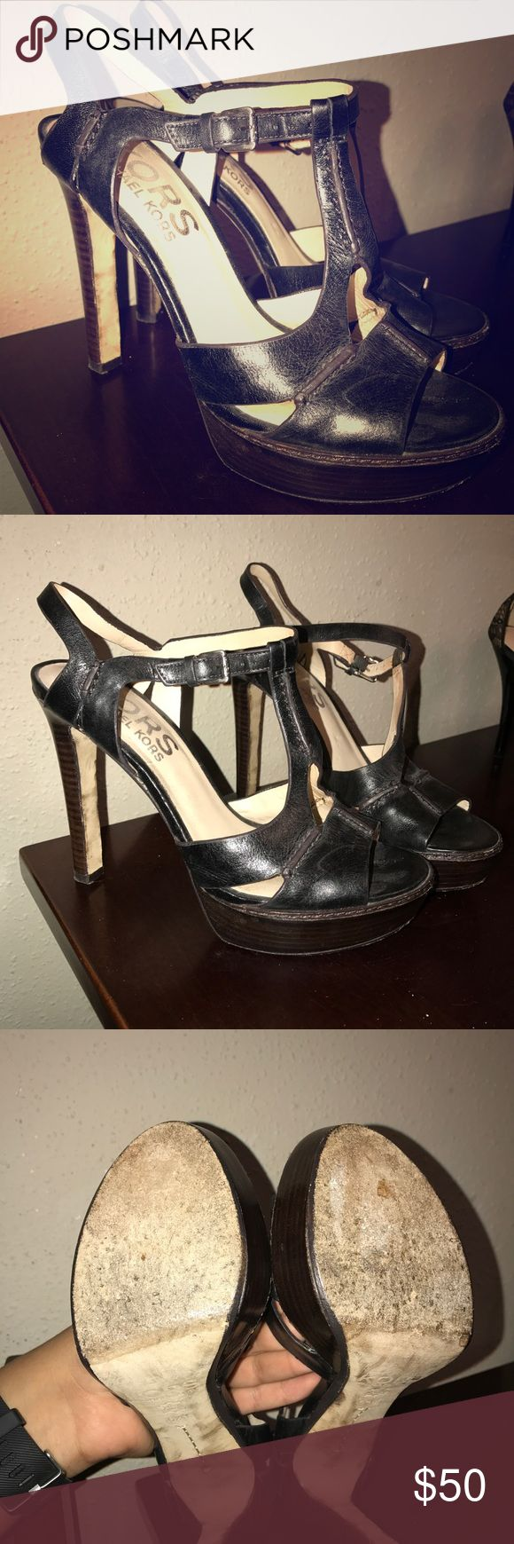 Kors Michael Kors Heels 6 1/2 Black high heel with dark brown platform KORS Michael Kors Shoes Heels
