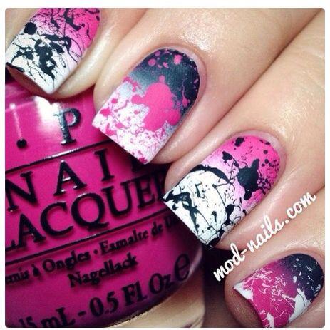 Splatter print nails