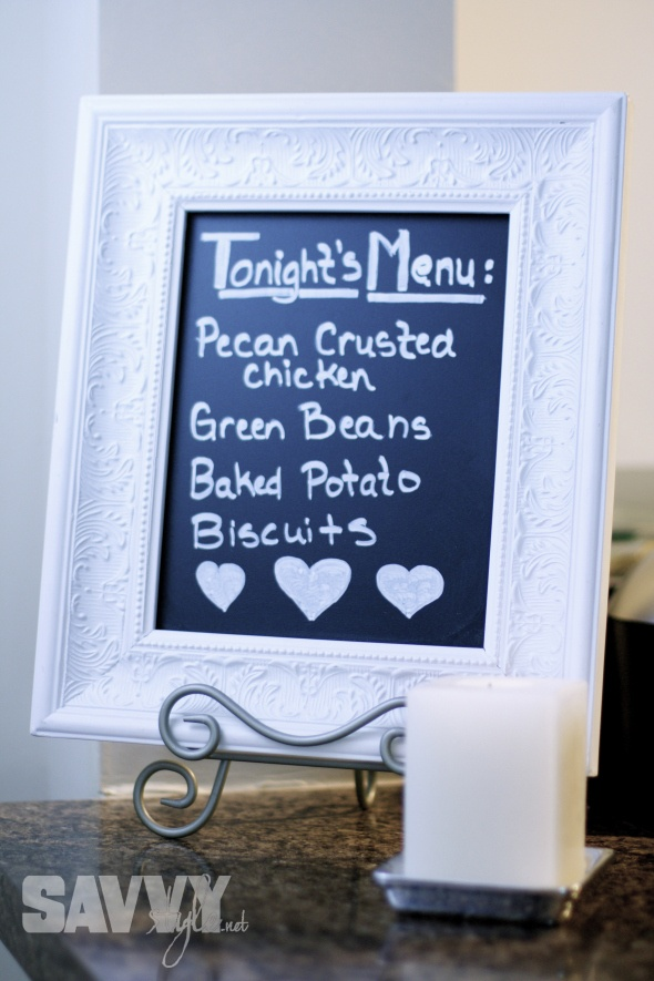 DIY Chalkboard - frame from Hobby Lobby & chalkboard plywood from Home Depot - easy and cheap! More ideas here: Mother's Day Party DIY Decor: http://savvystyle.net/2013/05/13/mothers-day-party-diy-decor/ mothers-day-chalkboard