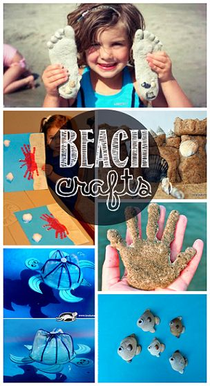 Beach Crafts for Kids to Make in the Summer - Crabs, Turtles, Fish, Sand Castles, Sand Plaster Prints, and more!