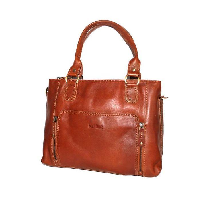 Handväska skinn cognac Paul Chriz 89958