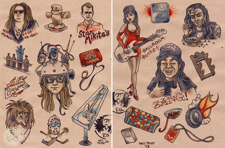 This is Most Excellent-Waynes World Tattoo flash by Wes Pratt