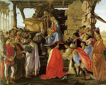"""Il dipinto """"Adorazione dei Magi"""" fu realizzato da Sandro Botticelli per Gaspare Zanobi de Lama. Tempera su tavola, 1475 circa, conservata nella Galleria degli Uffizi a Firenze."""