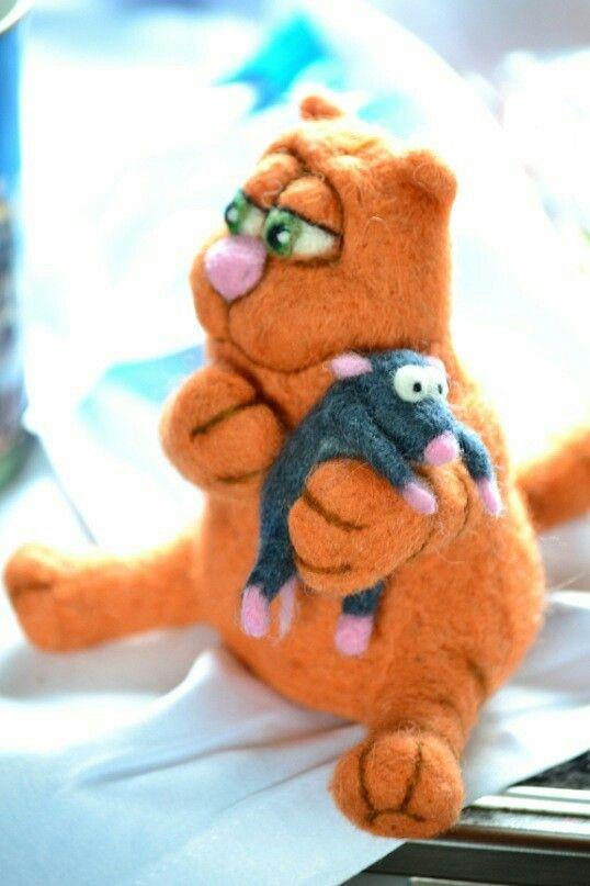 Кот и мыш  Валяные игрушки