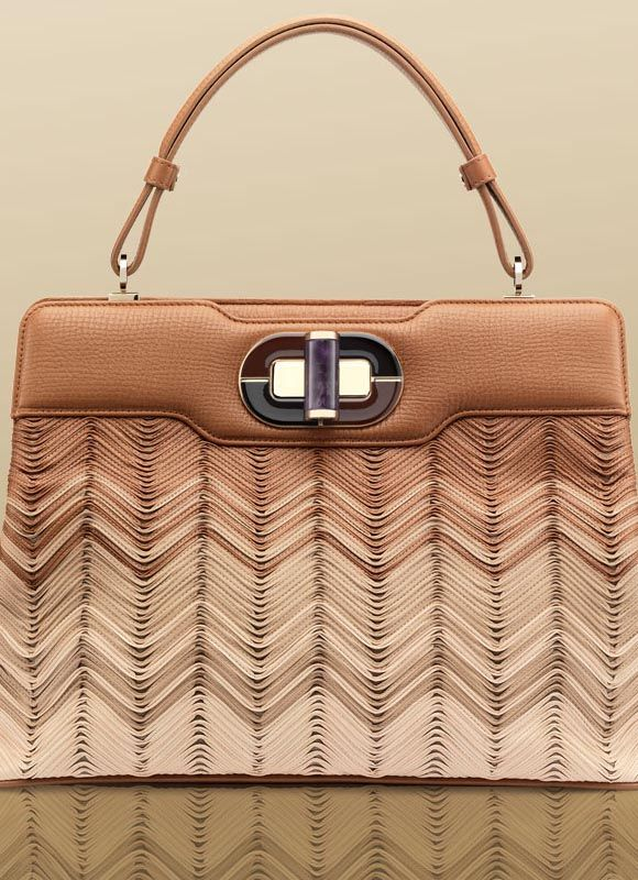 "Bulgari ""Isabella Rossellini"" large handbag in multi cognac lace chevron calf leather and brown hide soft grained calf leather"