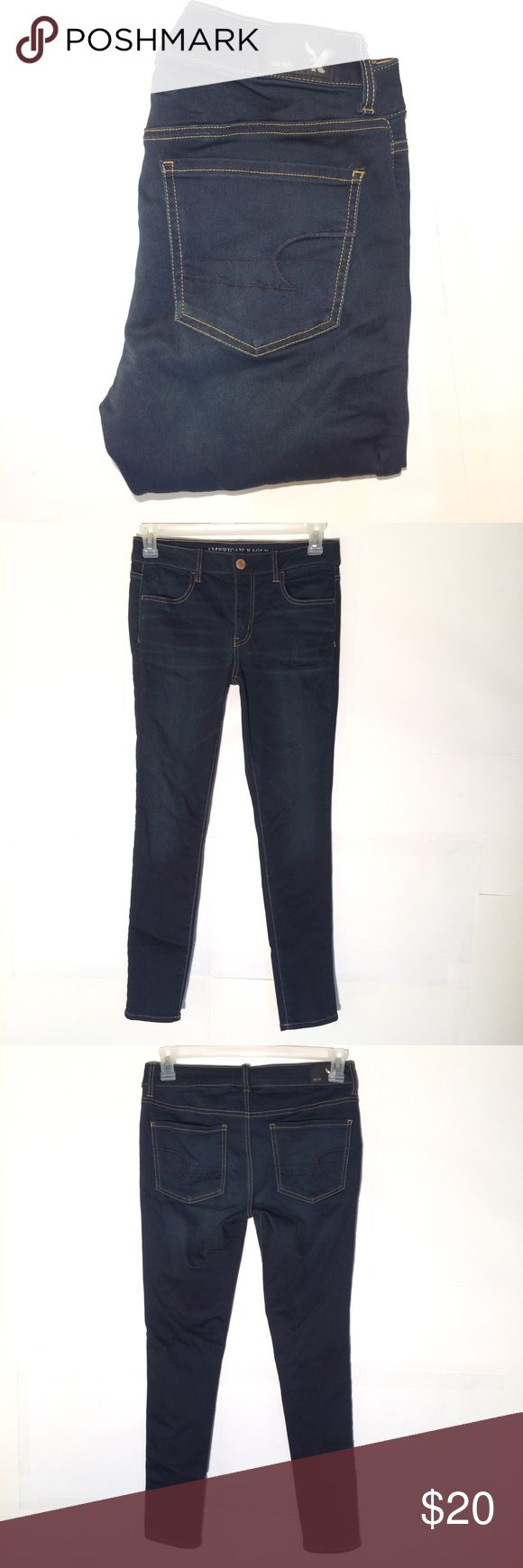 """American eagle jegging stretch jeans size 10 American eagle jegging stretch jeans. Ladies size 10. Excellent condition. 58% cotton 48% polyester and 2% spandex. No rips stains or tears. Actual measurements are:  Waist 31"""" Inseam 29"""" Rise 9"""" Thanks American Eagle Outfitters Jeans Skinny"""
