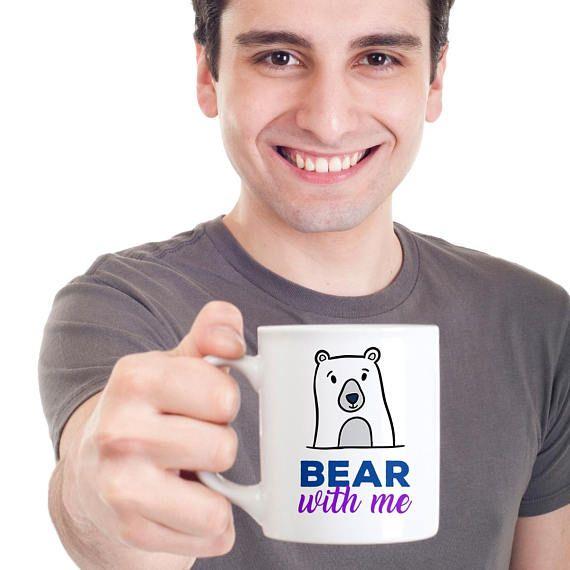 Bear with me this Christmas  Polar Bear Illustration Mug for