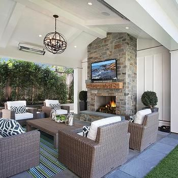 Lovely Wicker Outside Sofas and Chairs with Navy Trellis pillows - Transitional - Deck/patio