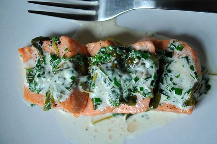 Salmon in Sorrel Sauce -- @omadebra  I've been craving some fresh salmon lately. Do you want to send some down?