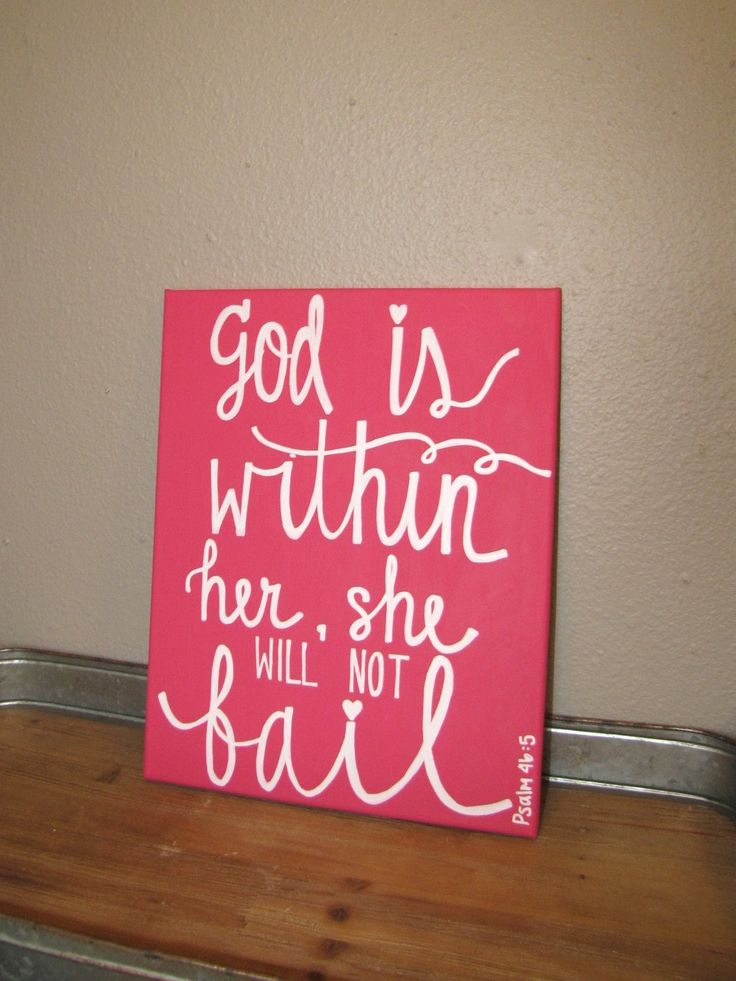 God Is Within Her Canvas Quote - Pink Canvas Art - Nursery Decor - Psalm 46 - Scripture Quote Painting - Dorm Decor - Inspirational Canvas by RestoreandSparkle on Etsy