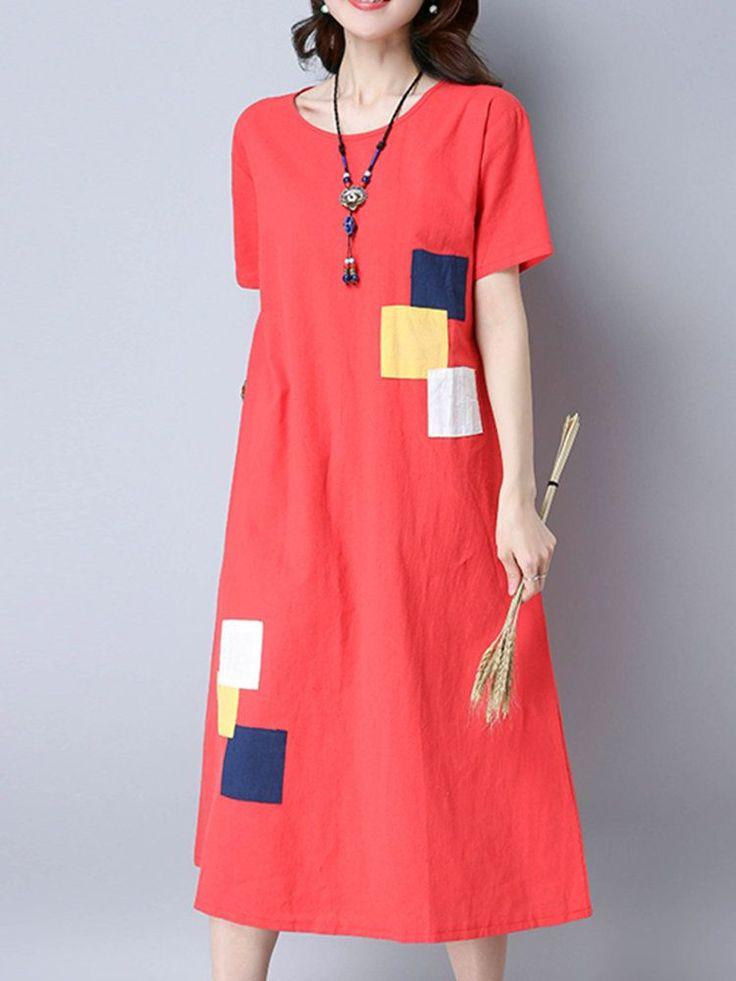 Vintage Patchwork Short Sleeve Pocket Women Mid-Long Dresses