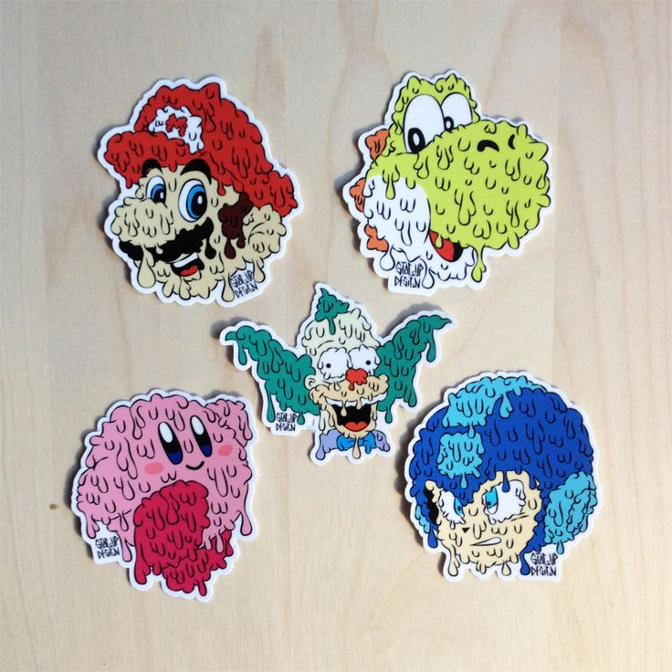 Pack of 5 stickers with mario kirby megaman yoshi krustyvery high
