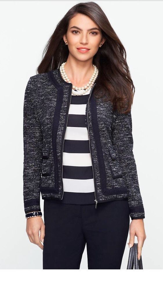 Talbots Women's Petites 14P Tweed Suit Jacket Blazer in Navy Blue  | eBay