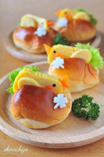 Kids Meal Idea: Chick Sandwich (Buns, Tamagoyaki Egg Omelet, Boiled Carrot, Nori Seaweeds, Green)|小鳥サンド
