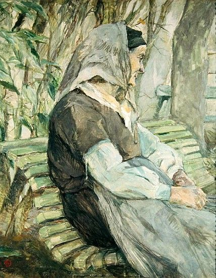 Henri de Toulouse-Lautrec  Old Woman Seated on a Bench in Celeyran