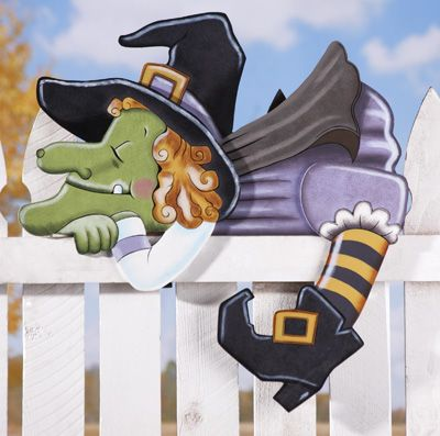 Snoozin' Olga Witch Halloween Fence Topper Outdoor Decoration