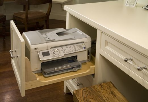 Keep your printer in the drawer with the side cut out. Easy access when need it ... b44c92f11814e6f5e9df269942202e58  kitchen desks kitchen nook