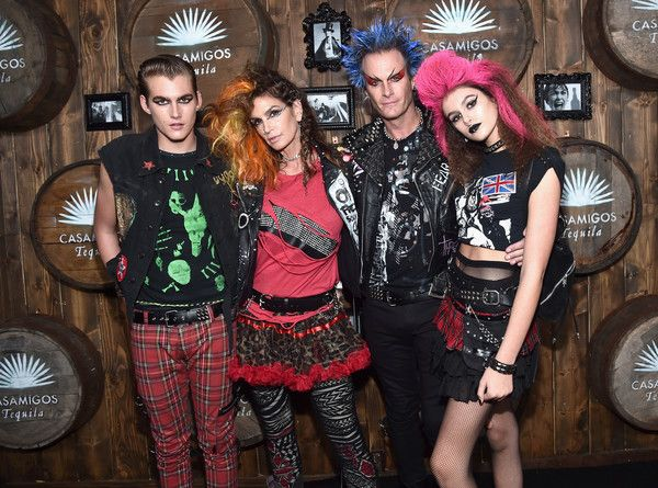 (L-R) Presley Walker Gerber, model Cindy Crawford, Casamigos co-founder Rande Gerber and Kaia Jordan Gerber arrive to the Casamigos Halloween Party at a private residence on October 28, 2016 in Beverly Hills, California.