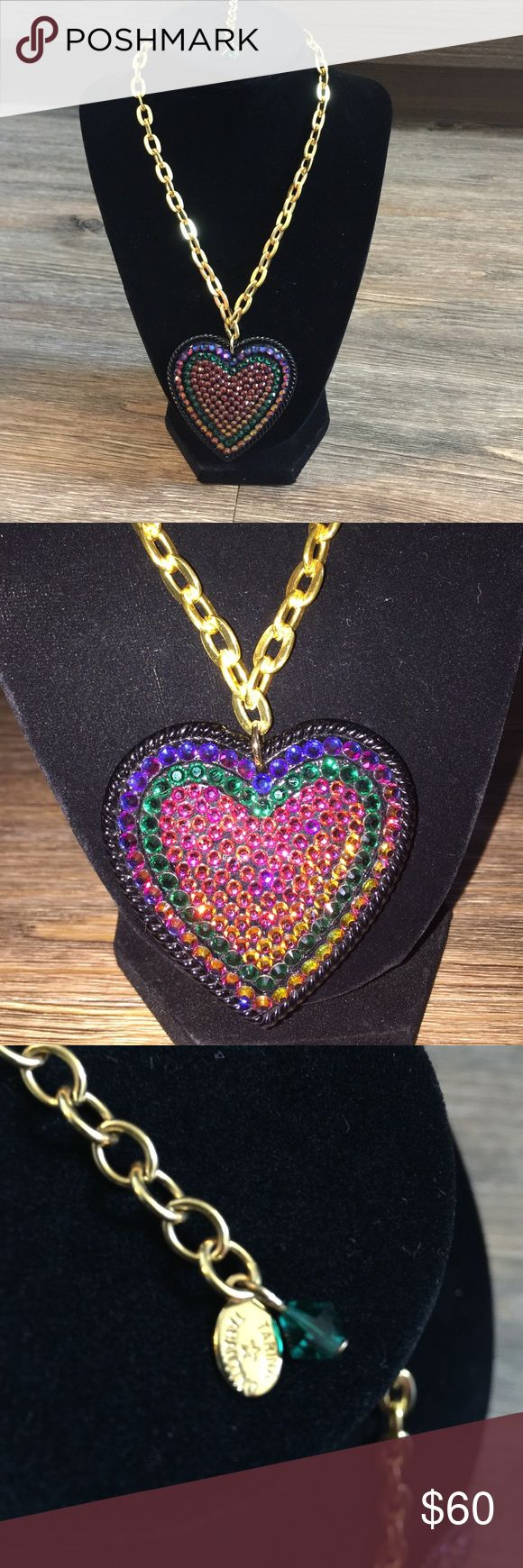 Tarina Tarantino crystal heart necklace multi opal Authentic Tarina Tarantino crystal heart necklace with gold chain in multi color crystals opal I think the stone is gorgeous would dress and plain thing up brand new no missing stones Tarina Tarantino Jewelry Necklaces