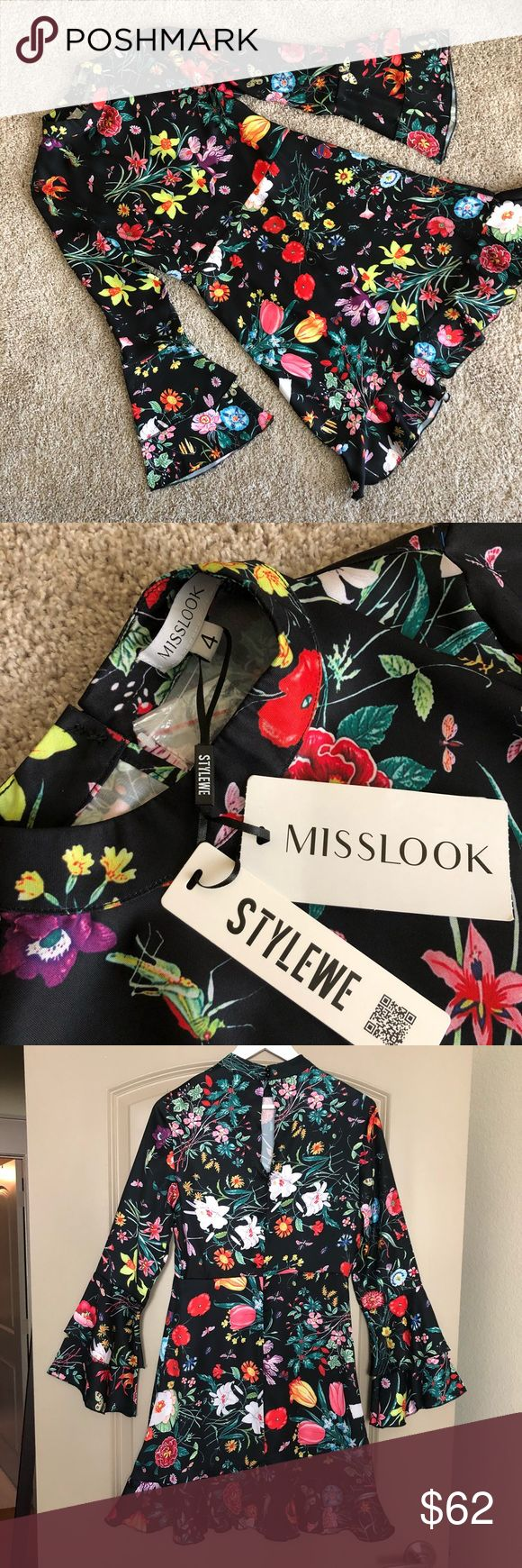 NWT Floral Dress NWT MissLook black floral dress with mock neck, bracelet length bell sleeves, A line skirt with ruffle trim, concealed back zipper, & keyhole. Super classy, retro yet current dress. Size 4. True to size.  100% Poly Wash cold. Dresses Midi