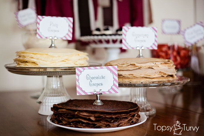 Crepe Bar - three crepe flavors, plain, cinnamon and chocolate!!!