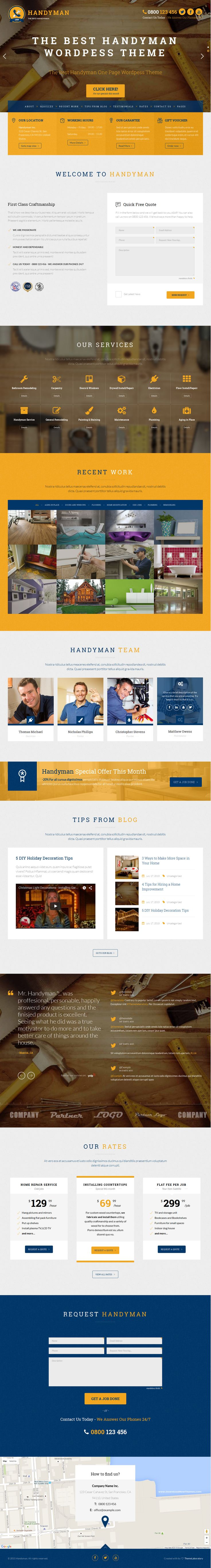Handyman is popular One Page WordPress child theme for Layers. It is suitable for handyman, repairman, craftsman, plumber, electrician or any kind of service business websites. #website #design