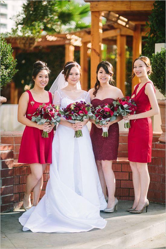 rojos vestidos de dama de honor