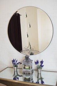 Large Frameless Round Wall Mirror Crystal Tear Drop Design 3ft4 (100cm)