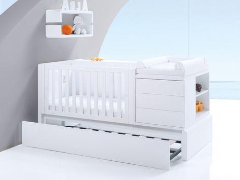 Cuna convertible infantil de diseño y moderna KURVE PREMIUM. Con cama nido inferior para visitas inesperadas....