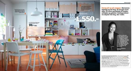 Painted curtains really are a great idea for creating a space-saving way to hide possibly messy shelves..  IKEA katalog 2015