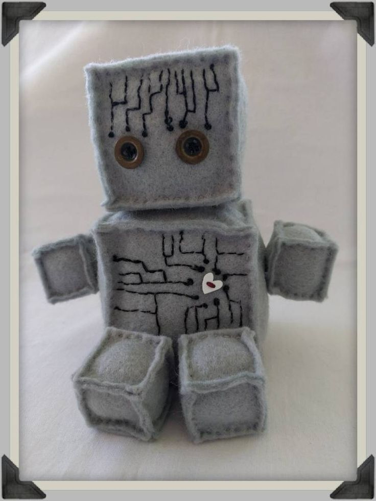 Felt Robot with Circuit Board Embroidery, Romantic Gift for Guy by ByCatDesign on Etsy