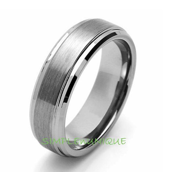 7MM Mens Promise Ring Tungsten Men's Wedding Band Tungsten Carbide Man's Engagement Ring Anniversary Ring, Tungsten Carbide Ring, For Him