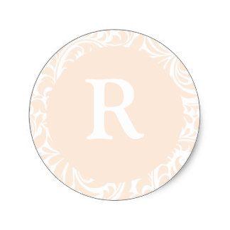 モノグラムR Monogrを結婚するためのアイボリー色のステッカー 丸形シールステッカー