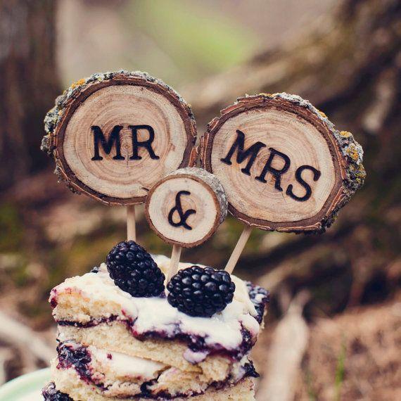 Wedding Cake Topper // Tree Slice Cake Topper //  by alifesosimple
