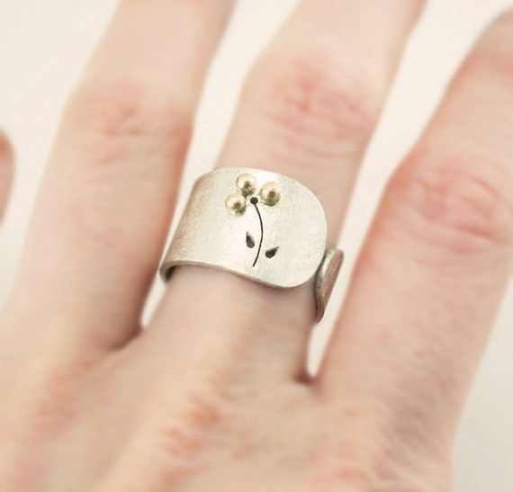 Items similar to Open band ring. 18k gold and sterling silver wide band ring. Contemporary jewelry on Etsy