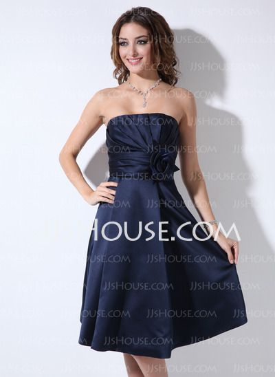 Bridesmaid Dresses - $67.49 - A-Line/Princess Strapless Knee-Length Satin Bridesmaid Dresses With Ruffle (007006365) http://jjshouse.com/A-Line-Princess-Strapless-Knee-Length-Satin-Bridesmaid-Dresses-With-Ruffle-007006365-g6365