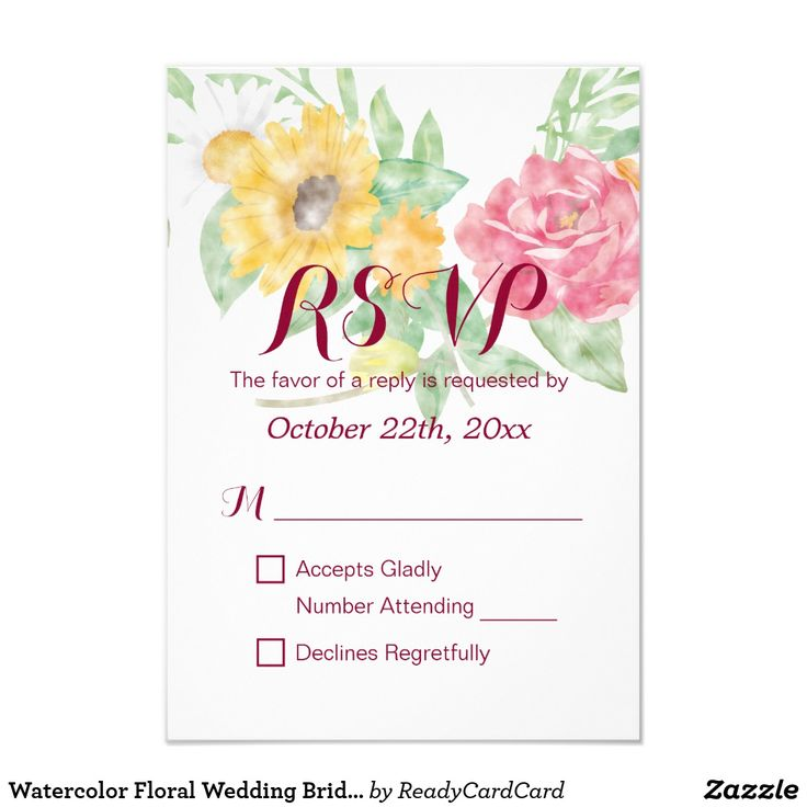 Watercolor Floral Wedding Bridal Shower RSVP Card Elegant Vintage Wedding Bridal Shower Watercolor Floral RSVP Reply Card. A Perfect Design for your Big Day. All text style, colors, sizes can be modified to fit your needs.