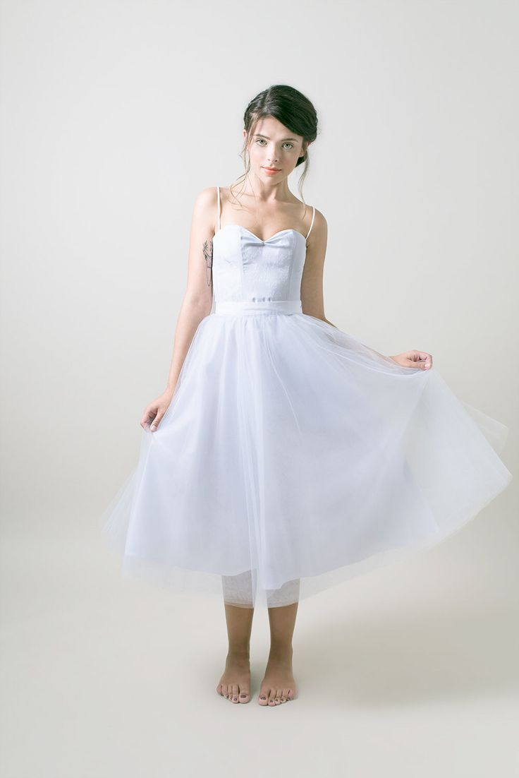 Light grey tulle skirt grey wedding dress bridal tutu for Silver tea length wedding dresses