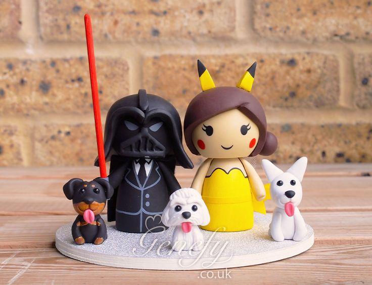Star Wars Darth Vader Groom and Pikachu Bride wedding cake topper by GenefyPlayground  https://www.facebook.com/genefyplayground