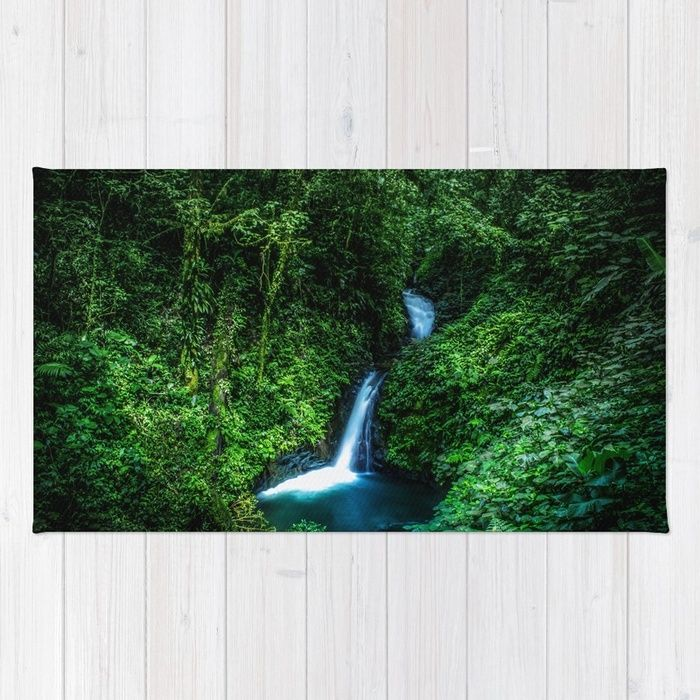 Jungle Waterfall. A small glade opens up with a beautiful waterfall deep in the jungle of the Cloud Forest Reserve of Monteverde, Costa Rica. #forest #rainforest #nature #green #landscape #waterfall #rug #homedecor
