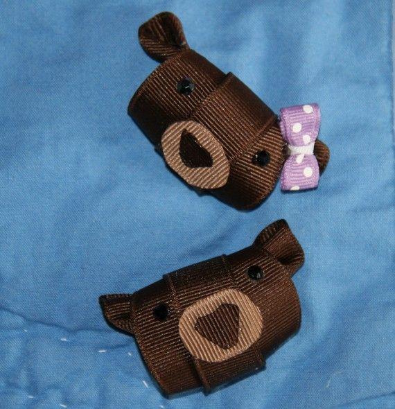 Brown Bear Ribbon Sculpture Hair Clip