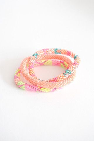 Peach Lily and Laura bracelets