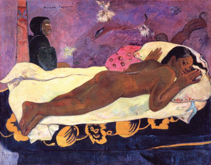 Gaugin. Manao tupapau (The Spirit of the Dead Keeps Watch) 1892.  Gauguin left France in search of an exotic paradise in 1891, and later died in Tahiti. Here he shows the woman he married there, Teha'amana, haunted by spirits. But the work was not merely a tribute to her, it is also a commentary Manet's Olympia, and hence part of Gauguin's high stakes war in the Parisian art world. A Post-Impressionist, he was drawn to expressive subjects which he framed in a Symbolist