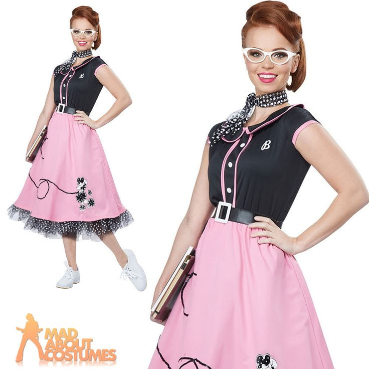 Adult 50s Sweetheart Costume 1950s Poodle Nifty Fifties Fancy Dress Grease Dress | eBay